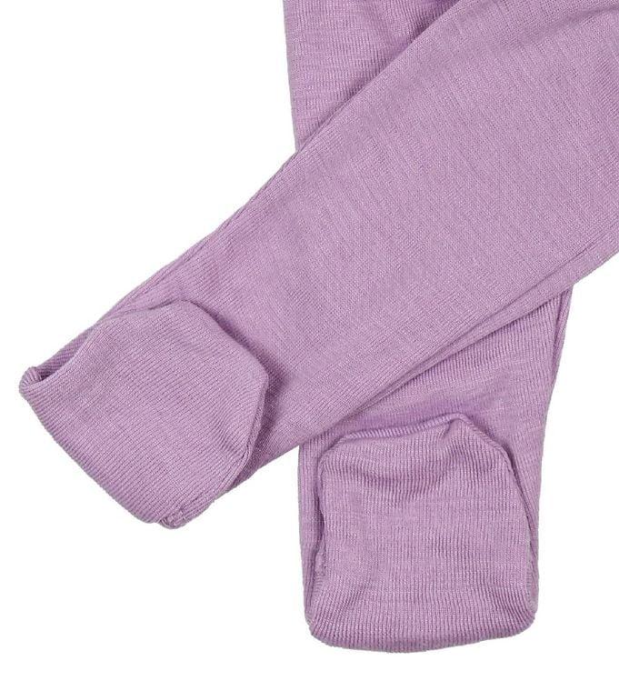Pantaloni colanţi cu botoșei din lână merinos și mătase Lavender Joha 2