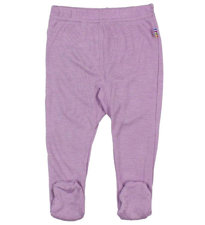 Pantaloni colanţi cu botoșei din lână merinos și mătase Lavender Joha