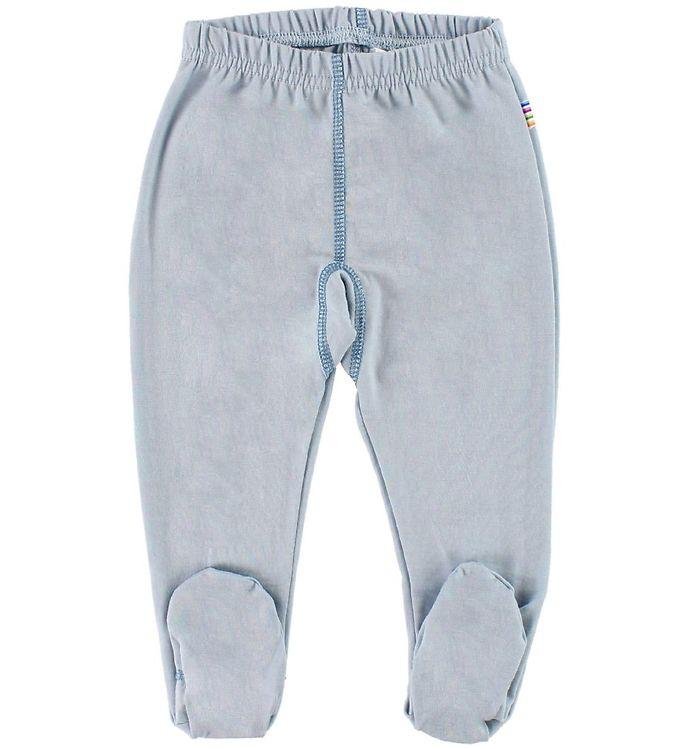 Pantaloni colanţi cu botoșei din lână merinos Light Blue Joha