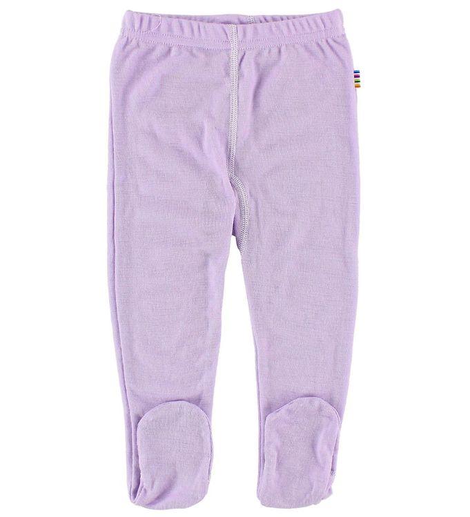 Pantaloni colanţi cu botoșei din lână merinos Purple Joha