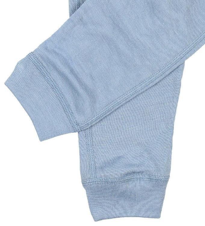 Pantaloni colanţi din lână merinos și mătase pentru copii Dusty Blue Joha 2
