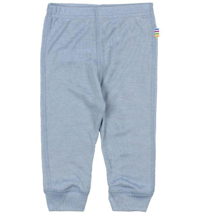 Pantaloni colanţi din lână merinos și mătase pentru copii Dusty Blue Joha