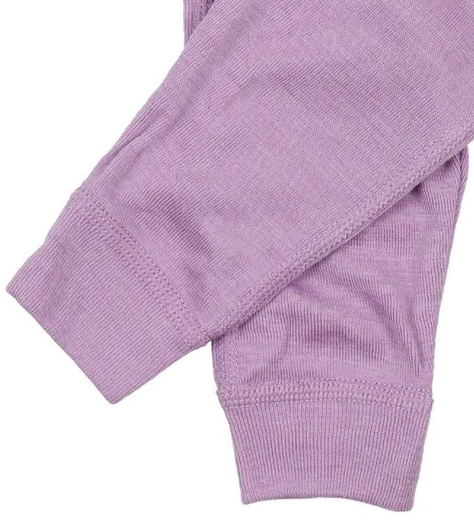 Pantaloni colanţi din lână merinos și mătase pentru copii Lavender Joha 2