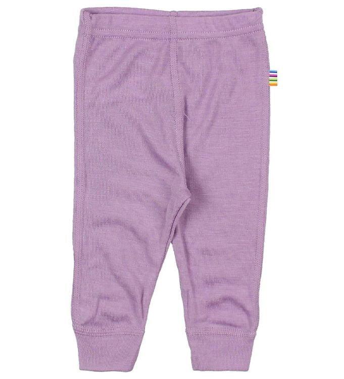 Pantaloni colanţi din lână merinos și mătase pentru copii Lavender Joha