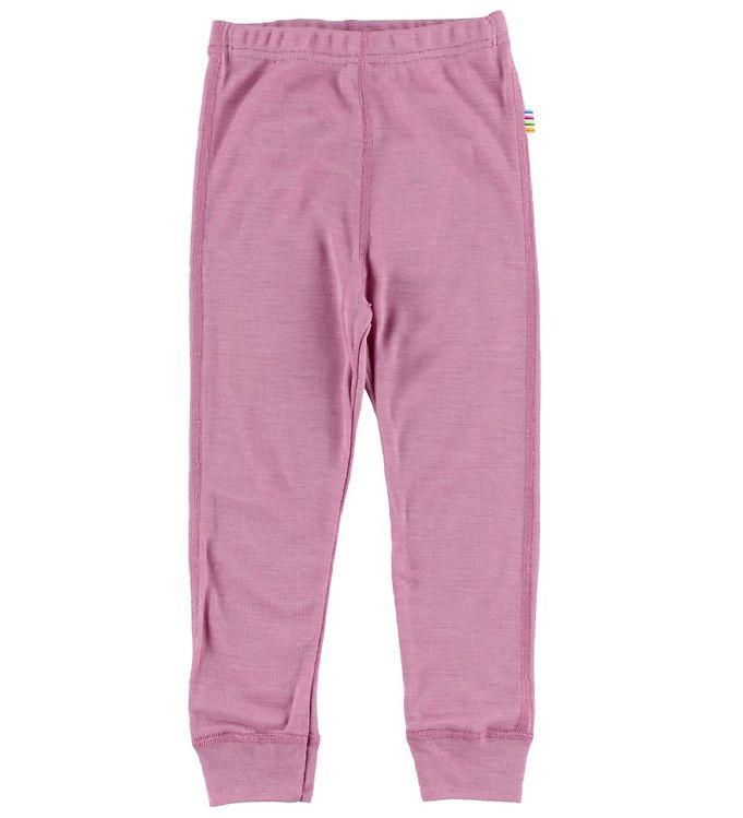 Pantaloni colanţi din lână merinos și mătase pentru copii Pink Joha