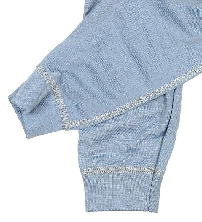 Pantaloni colanţi din lână merinos extra fină pentru copii Dusty Blue Joha 2