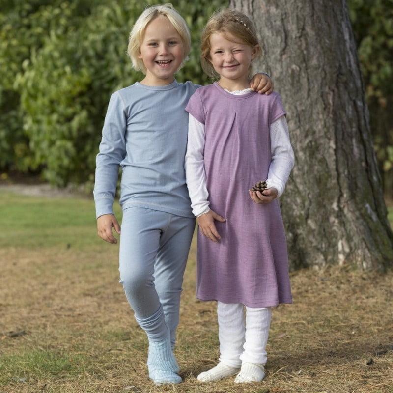Pantaloni colanţi din lână merinos extra fină pentru copii Dusty Blue Joha 3