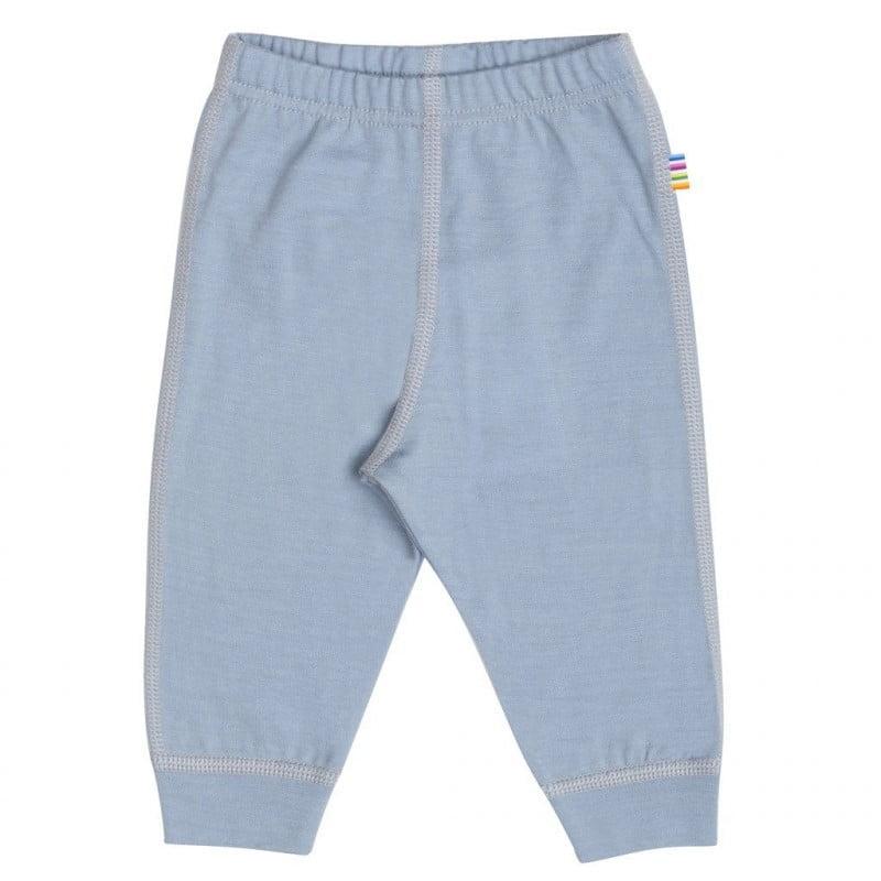 Pantaloni colanţi din lână merinos extra fină pentru copii Dusty Blue Joha