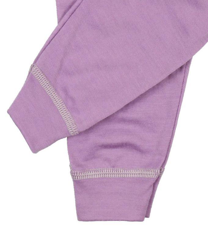 Pantaloni colanţi din lână merinos pentru copii Lavender Joha 2
