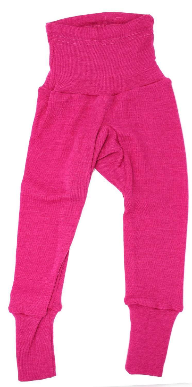 Pantaloni colanţi din lână merinos și mătase organică Pink Cosilana
