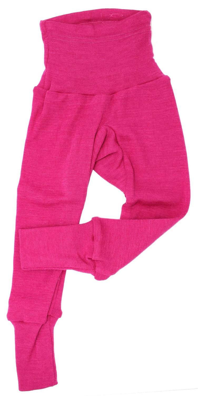 Pantaloni colanţi din lână merinos și mătase organică Pink Cosilana 2