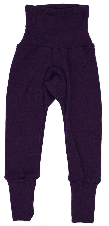 Pantaloni colanţi din lână merinos și mătase organică Plum Cosilana
