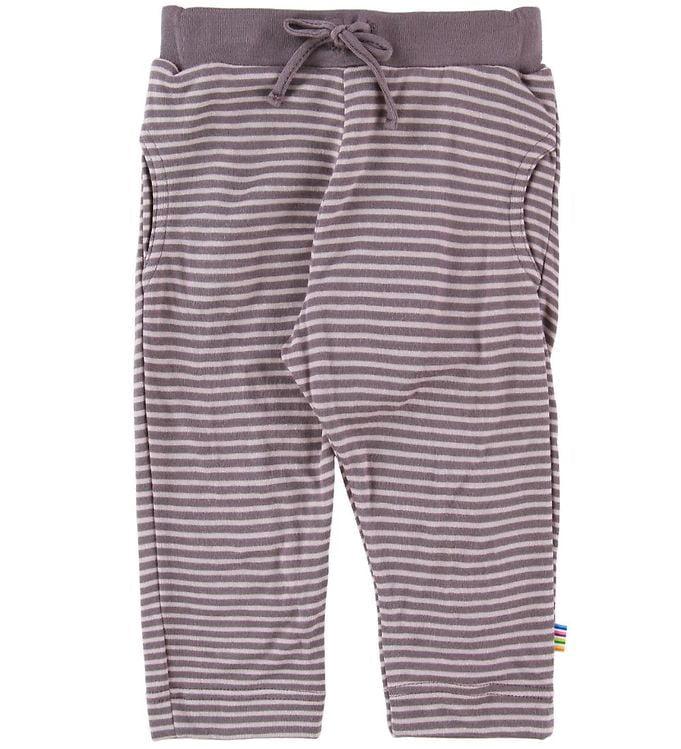 Pantaloni din bambus organic pentru copii cu dungi Purple-Lavender Joha