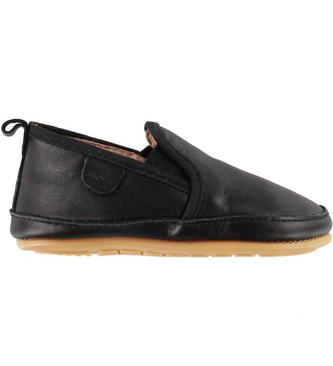 Pantofi barefoot cu elastic din piele naturală pentru primii pași Black Move By Melton