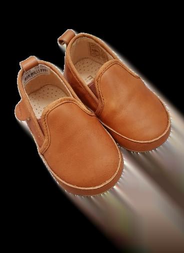Pantofi barefoot cu elastic din piele naturală pentru primii pași Cognac Move By Melton 2