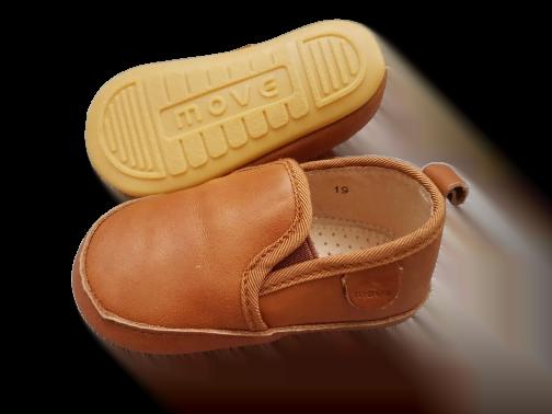 Pantofi barefoot cu elastic din piele naturală pentru primii pași Cognac Move By Melton 4