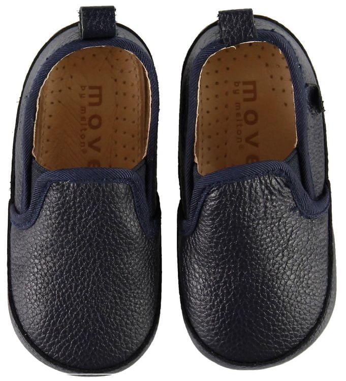 Pantofi barefoot cu elastic din piele naturală pentru primii pași Navy Move By Melton 4
