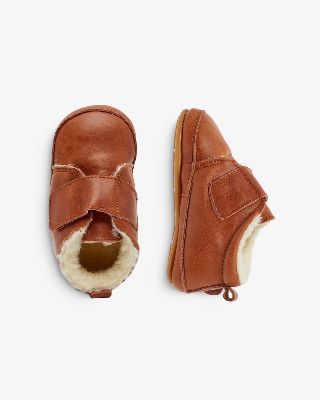 Pantofi barefoot din piele naturală căptușiți cu lână pentru primii pași Cognac Move By Melton 4