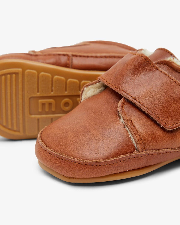 Pantofi barefoot din piele naturală căptușiți cu lână pentru primii pași Cognac Move By Melton 5