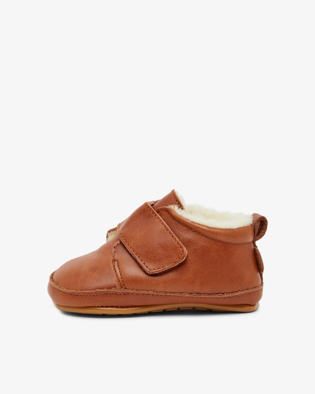 Pantofi barefoot din piele naturală căptușiți cu lână pentru primii pași Cognac Move By Melton