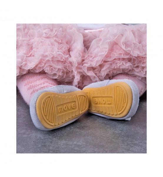 Pantofi barefoot din piele naturală pentru primii pași Blush Rose Move By Melton 2