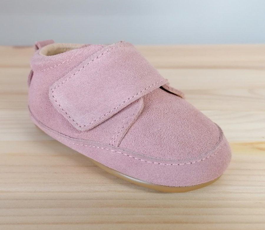Pantofi barefoot din piele naturală pentru primii pași Blush Rose Move By Melton