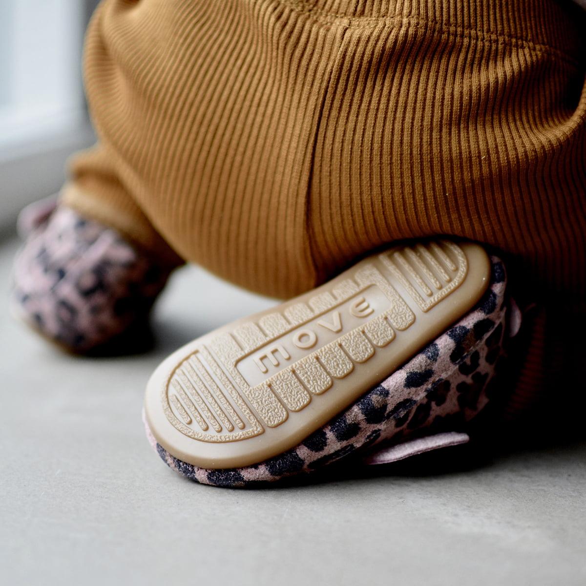 Pantofi barefoot din piele naturală pentru primii pași Rose Leopard Move By Melton 2