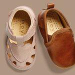 Sandale barefoot din piele naturală pentru primii pași Chintz Rose Move By Melton