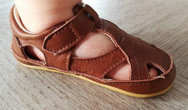 Sandale barefoot din piele naturală pentru primii pași Cognac Move By Melton