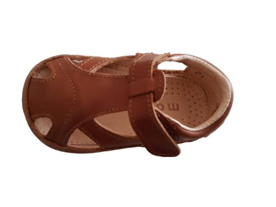 Sandale barefoot din piele naturală pentru primii pași Cognac Move By Melton 2