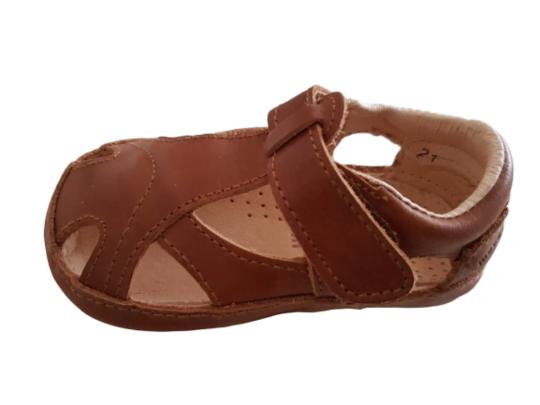 Sandale barefoot din piele naturală pentru primii pași Cognac Move By Melton 3