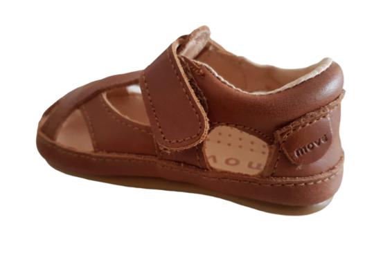 Sandale barefoot din piele naturală pentru primii pași Cognac Move By Melton 4