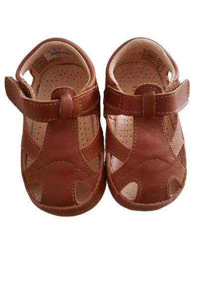 Sandale barefoot din piele naturală pentru primii pași Cognac Move By Melton 5