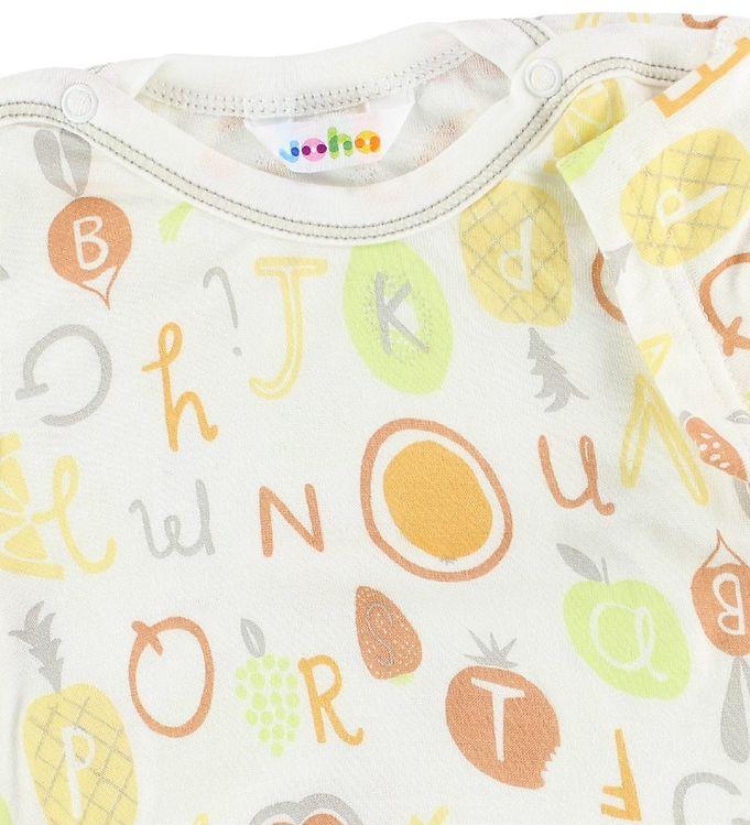 Tricou din bambus alb cu imprimeu din fructe, legume și litere 2