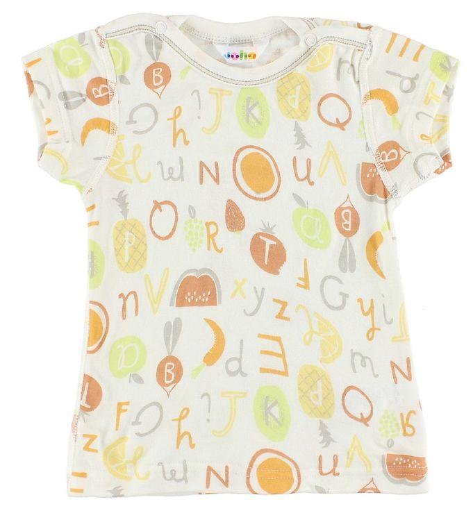 Tricou din bambus alb cu imprimeu din fructe, legume și litere