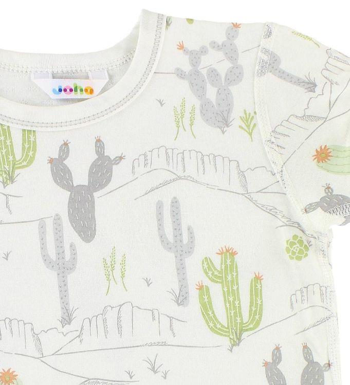 Tricou din bambus ivory cu imprimeu cactus și munți Joha 2