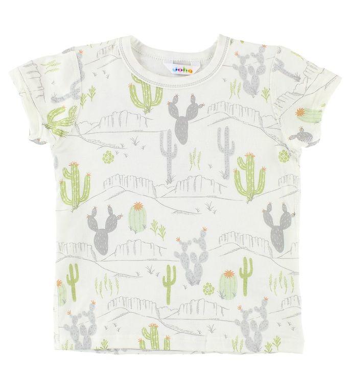 Tricou din bambus ivory cu imprimeu cactus și munți Joha