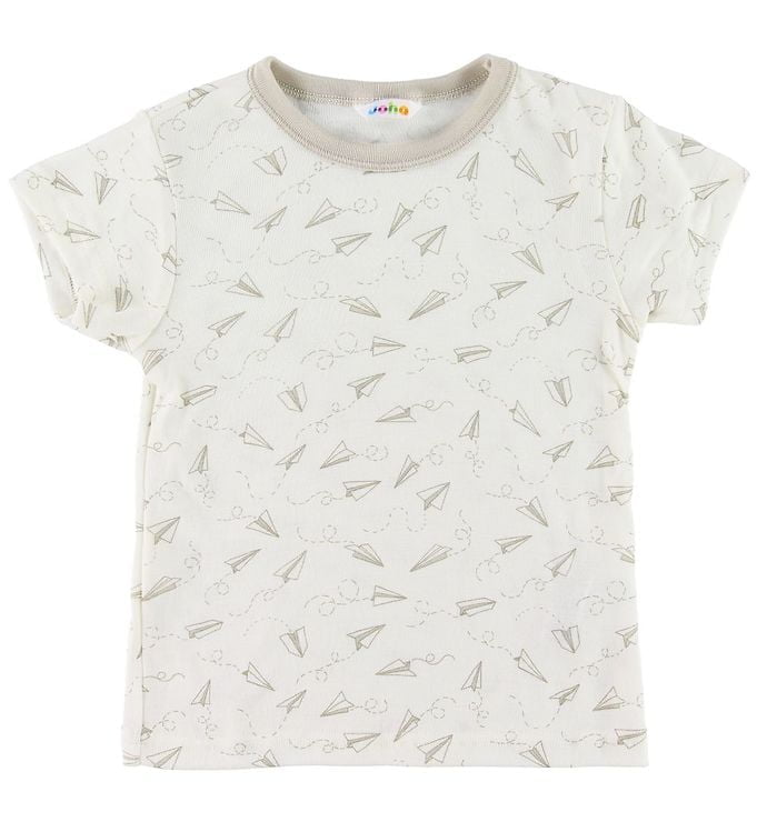 Tricou din lână merinos și mătase cream-beige cu imprimeu avioane de hârtie Joha