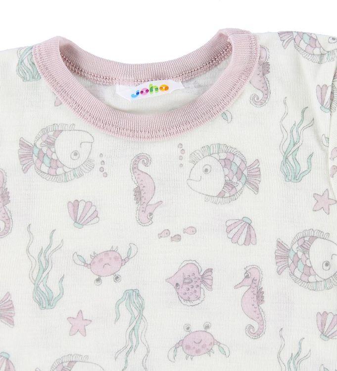 Tricou din lână merinos creme-rose cu imprimeu pești Joha 2