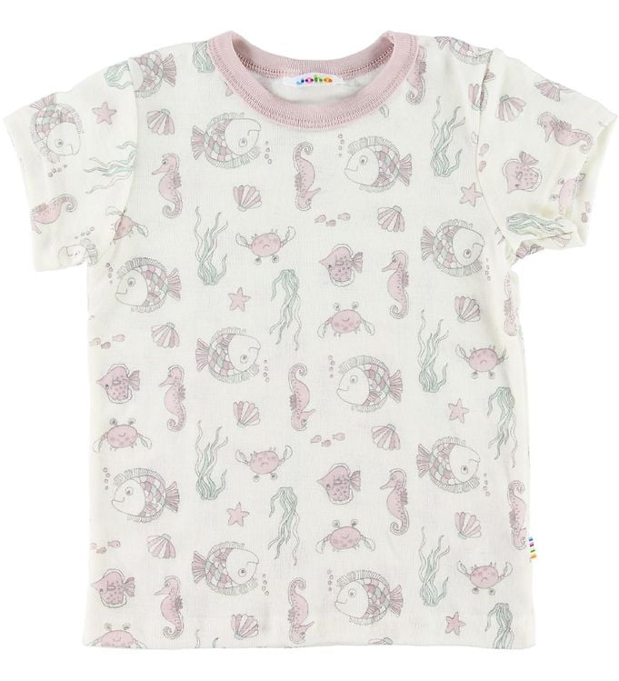 Tricou din lână merinos creme-rose cu imprimeu pești Joha