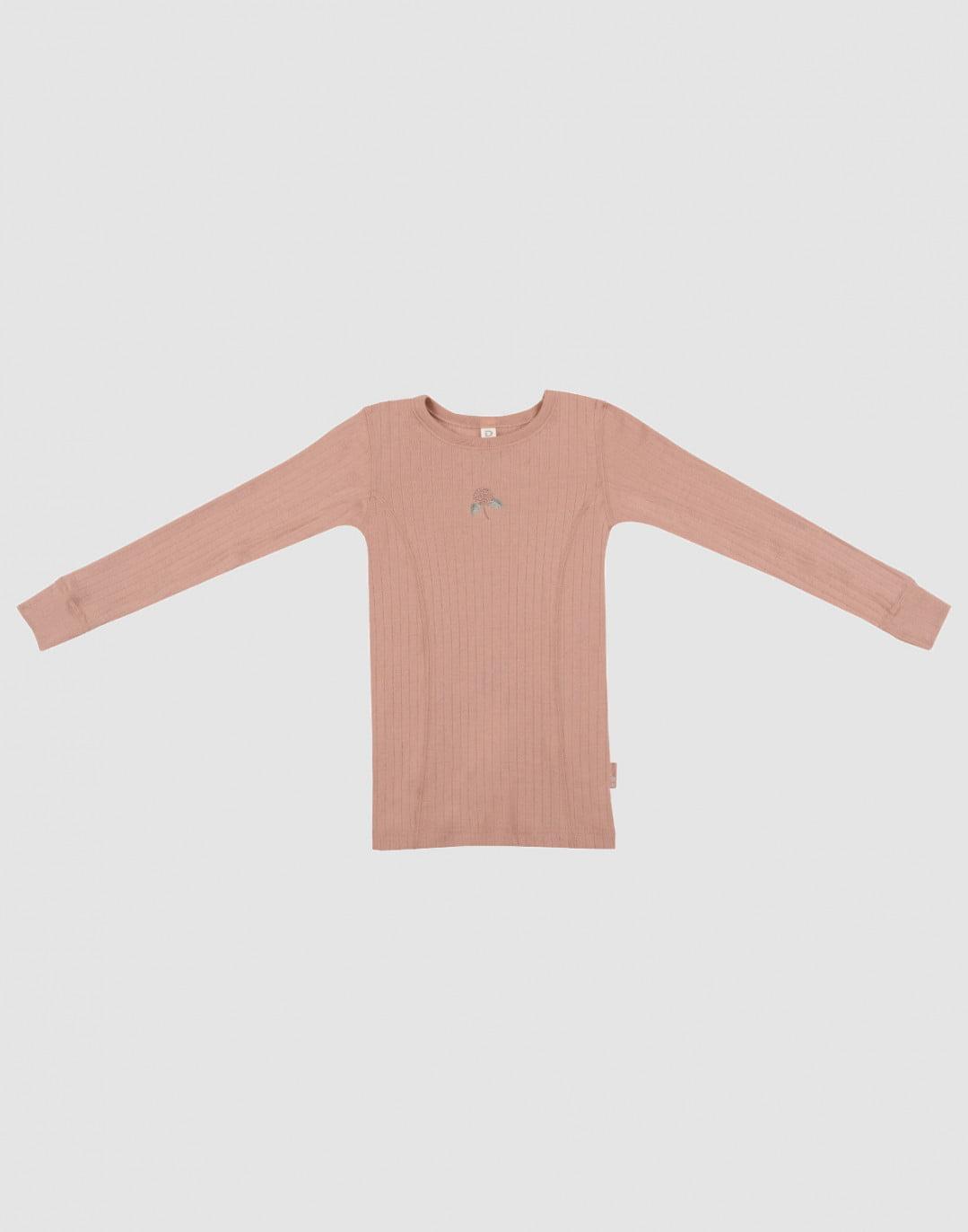 Bluză cu mânecă lungă powder din lână merinos organică rib pentru copiii Dilling