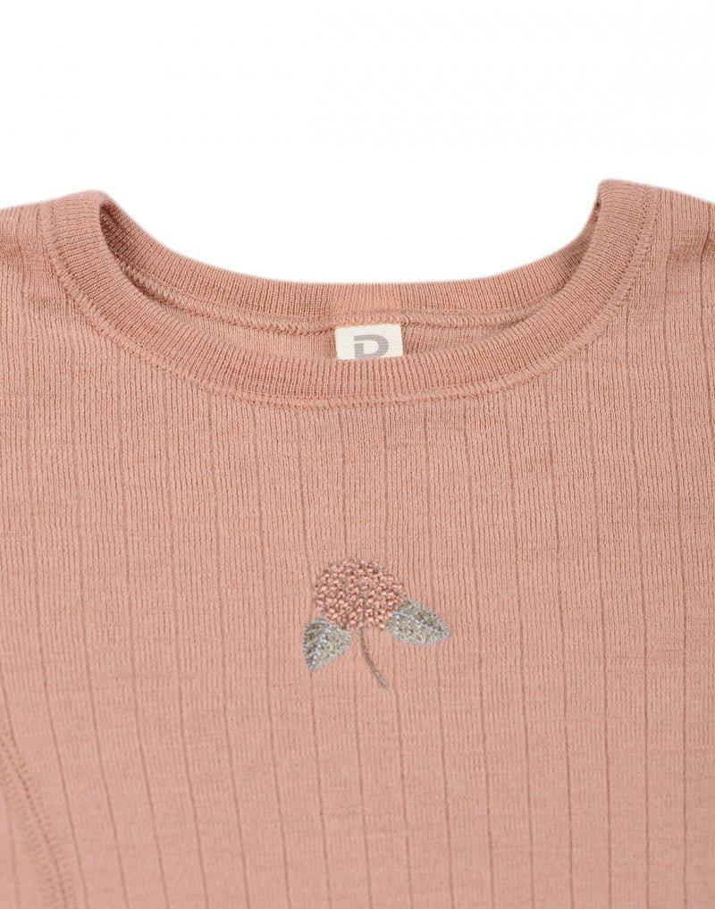 Bluză cu mânecă lungă powder din lână merinos organică rib pentru copiii Dilling 3