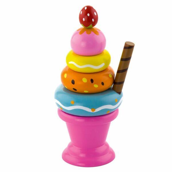 Înghețată melba din lemn Montessori roz Viga
