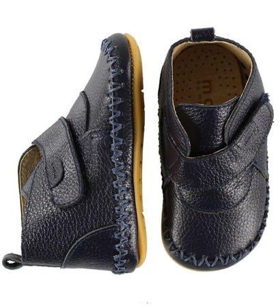 Pantofi barefoot din piele naturală pentru primii pași Navy Move By Melton