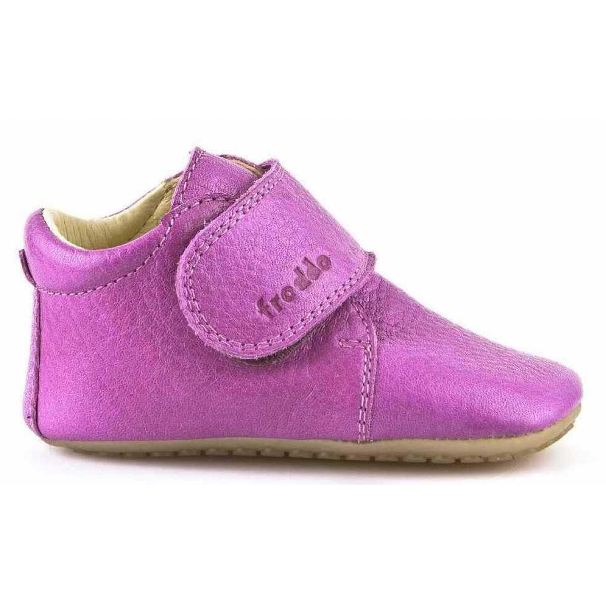 Pantofi barefoot din piele pentru primii pași fuchsia Froddo