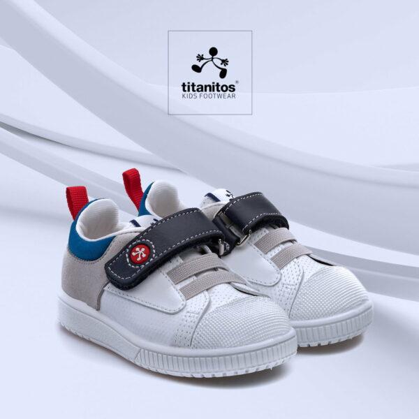 Pantofi sneakers din piele naturală pentru copii cu talpă flexibilă Dean Perla Titanitos