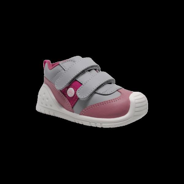 Pantofi sneakers din piele naturală pentru copii cu talpă flexibilă Helder Perla Titanitos