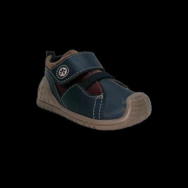 Pantofi sneakers din piele naturală pentru copii cu talpă flexibilă Videl Navy Titanitos
