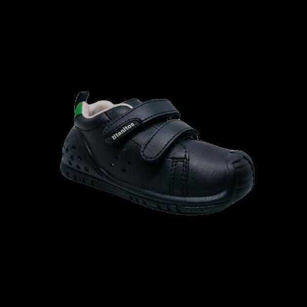 Pantofi sneakers din piele pentru copii cu talpă flexibilă Kevin Navy L680 Titanitos