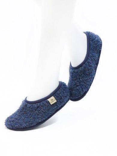 Papuci de casă lână cu talpă aniderapantă dark blue Ballerinas Alwero